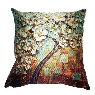 Teal Flower Tree Throw Pillow