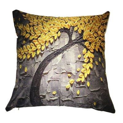 Yellow Flower Tree Throw Pillow