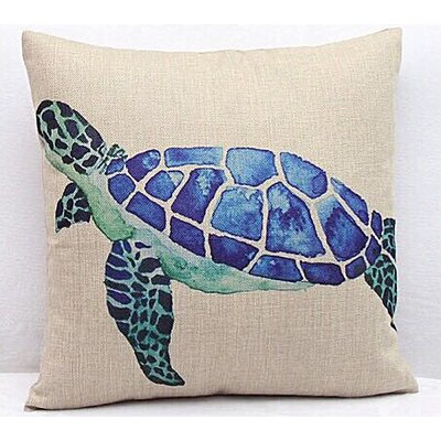Nanticoke Sea Turtle Canvas Square 100% Cotton Throw Pillow