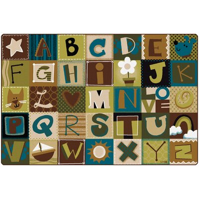 Toddler Alphabet Blocks Nature Area Rug