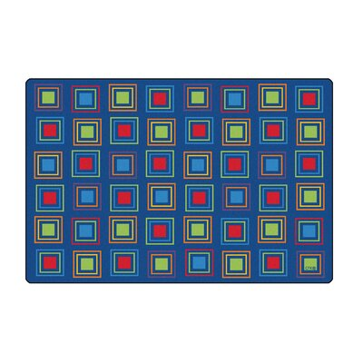 Primary Squares Blue Seating Area Rug Rug Size: 8 x 12