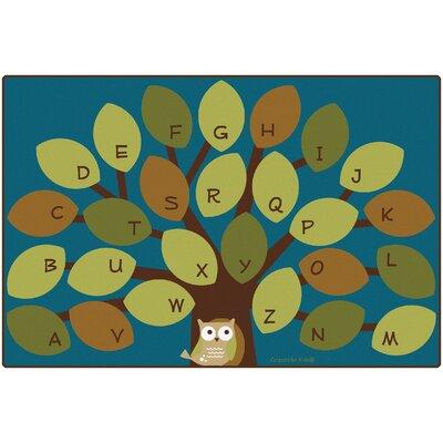Owl-Phabet Tree Teal Area Rug Rug Size: 8 x 12