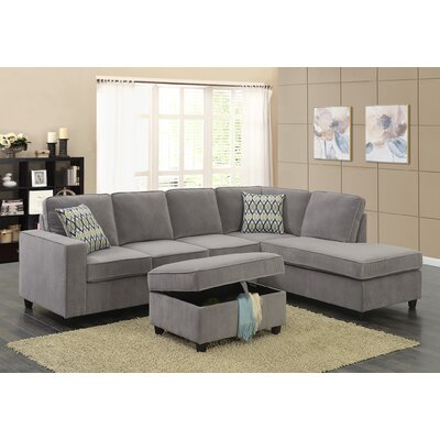 Barksdale Reversible Sectional with Ottoman Upholstery: Gray