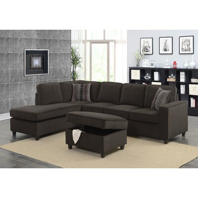 Barksdale Reversible Sectional with Ottoman Upholstery: Chocolate