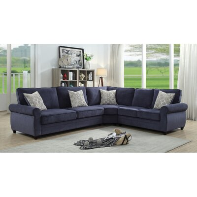 Amelia Sleeper Sectional Upholstery: Blue