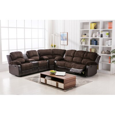 Addison Theater Reclining Sectional Upholstery: Brown