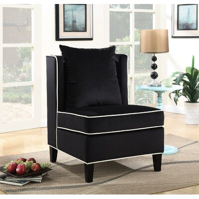 Landen Slipper Chair Upholstery: Black