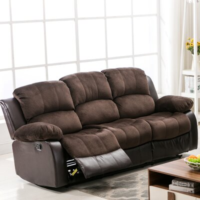 Addison Reclining Sofa Upholstery: Brown
