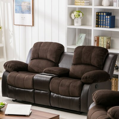 Anaheid Console Reclining Loveseat Upholstery: Brown