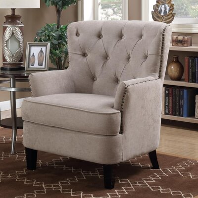 Alpha Tufted Armchair Upholstery: Taupe