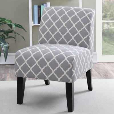 Janae Quatrefoil Slipper Chair Upholstery: Gray