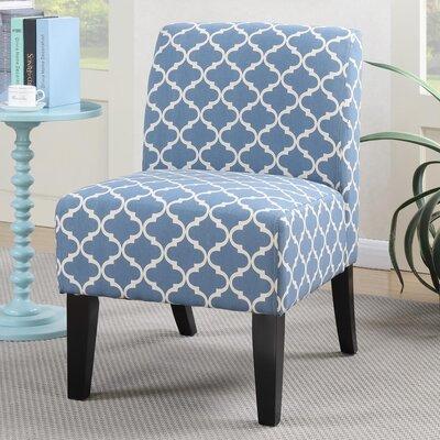 Janae Quatrefoil Slipper Chair Upholstery: Blue