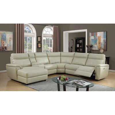 Nhan Power Leather Gel Reclining Sectional
