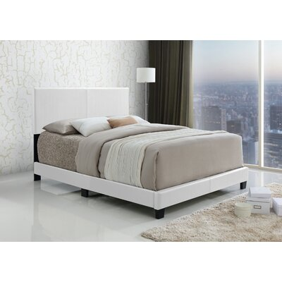 Geiger Upholstered Panel Bed Size: King, Color: White