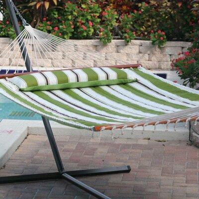 Hibiscus Premium Reversible Two Person Cotton Hammock Color: Green Stripe