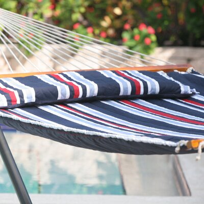 Hibiscus Premium Reversible Two Person Cotton Hammock Color: Navy Stripe
