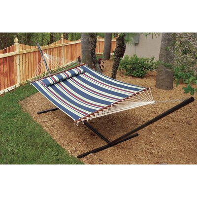 Nantucket Double Quilted Reversible Cotton Camping Hammock Color: Blue Stripe