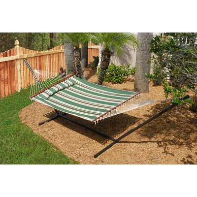 Nantucket Double Quilted Reversible Cotton Camping Hammock Color: Elm Green Stripe