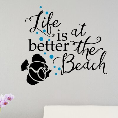 'Life Is Better at the Beach' Fish Vinyl Letters Words Home Wall Decal LL034A-24x22
