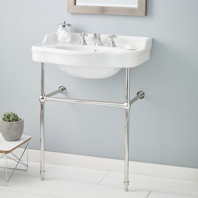28 Console Bathroom Sink with Overflow Finish: Polished Nickel