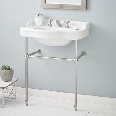 Metal 28 Console Bathroom Sink with Overflow Finish: Brushed Nickel