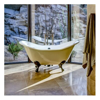 Regency 72 x 31 Soaking Bathtub Feet Finish: Polished Brass, Color: White Interior with White Exterior