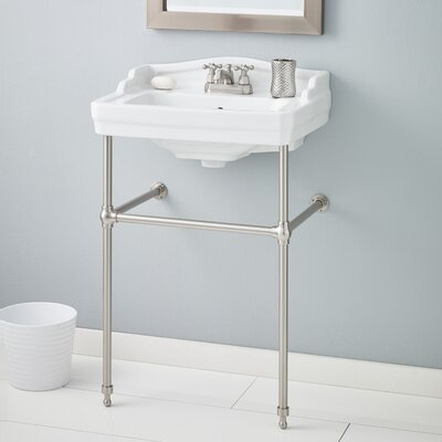 Essex 24 Console Bathroom Sink with Overflow Faucet Mount: Single, Finish: Brushed Nickel