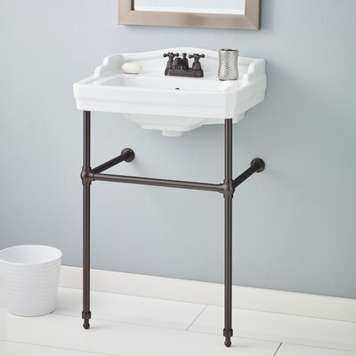 Essex 24 Console Bathroom Sink with Overflow Finish: Antique Bronze, Faucet Mount: Single