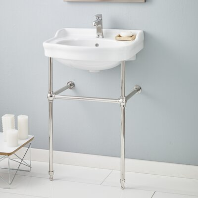 22.5 Console Bathroom Sink with Overflow Finish: Polished Nickel, Faucet Mount: 8 Drilling