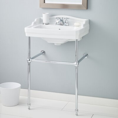 Essex 24 Console Bathroom Sink with Overflow Finish: Chrome, Faucet Mount: 8 Drilling