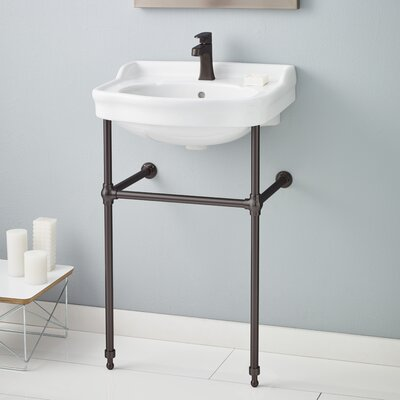 22.5 Console Bathroom Sink with Overflow Faucet Mount: Single, Finish: Antique Bronze