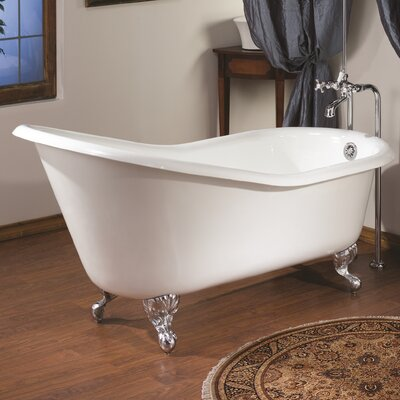 61 x 30 Soaking Bathtub Color: White Interior with White Exterior, Feet Finish: Polished Brass