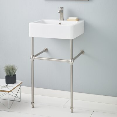 Nuovella Ceramic 24 Console Bathroom Sink with Overflow Finish: Brushed Nickel, Faucet Mount: 8 Drilling