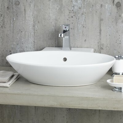 Geo Ceramic Oval Vessel Bathroom Sink with Overflow