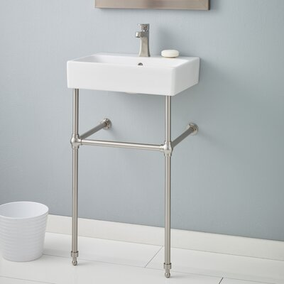 Nuo Ceramic 20 Console Bathroom Sink with Overflow Finish: Brushed Nickel