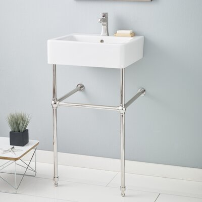 Nuovella 23.63 Console Bathroom Sink with Overflow Finish: Polished Nickel, Faucet Mount: 8 Drilling