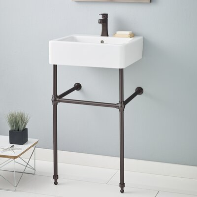 Nuovella Ceramic 24 Console Bathroom Sink with Overflow Finish: Antique Bronze, Faucet Mount: 8 Drilling