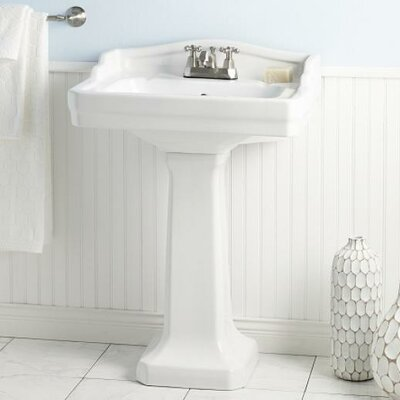Essex 24 Pedestal Bathroom Sink with Overflow Faucet Mount: 4 Drilling