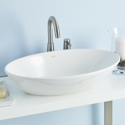 Geo Ceramic Oval Vessel Bathroom Sink