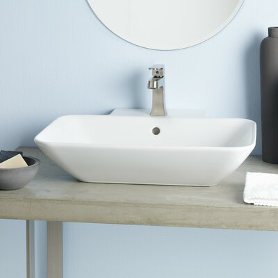 Element Ceramic Rectangular Vessel Bathroom Sink with Overflow
