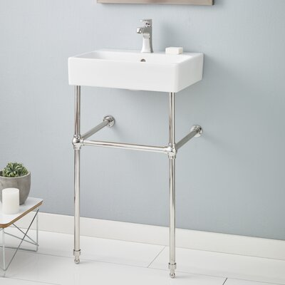 Nuo Ceramic 20 Console Bathroom Sink with Overflow Finish: Polished Nickel