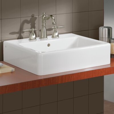 Nuovella Ceramic Rectangular Vessel Bathroom Sink with Overflow Faucet Mount: 8 Drilling
