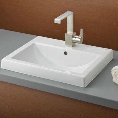 Camilla Semi Recessed Self Rimming Bathroom Sink with Faucet Center 8 Faucet Mount: Single