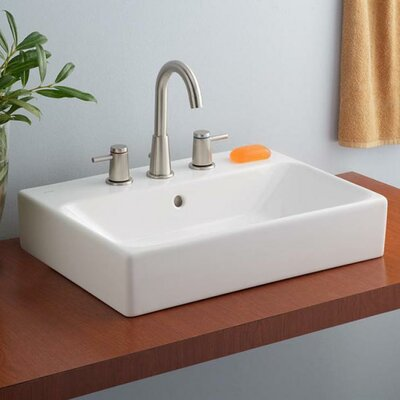 Nuo Ceramic Rectangular Vessel Bathroom Sink with Overflow