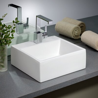 Rio Vitreous China Rectangular Vessel Bathroom Sink Faucet Mount: 8 Drilling