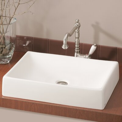 Quattro Rectangular Vessel Bathroom Sink Sink Finish: White