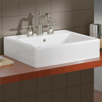 Nuovella Rectangular Vessel Bathroom Sink with Overflow