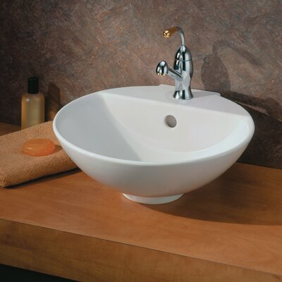 York Ceramic Circular Vessel Bathroom Sink with Overflow Sink Finish: White