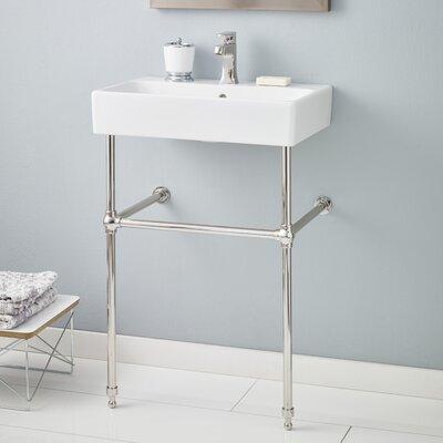 Nuo Ceramic 24 Console Bathroom Sink with Overflow Finish: Polished Nickel, Faucet Mount: 8 Drilling