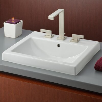 Camilla Vitreous China Rectangular Drop-In Bathroom Sink with Overflow Faucet Mount: 8 Drilling